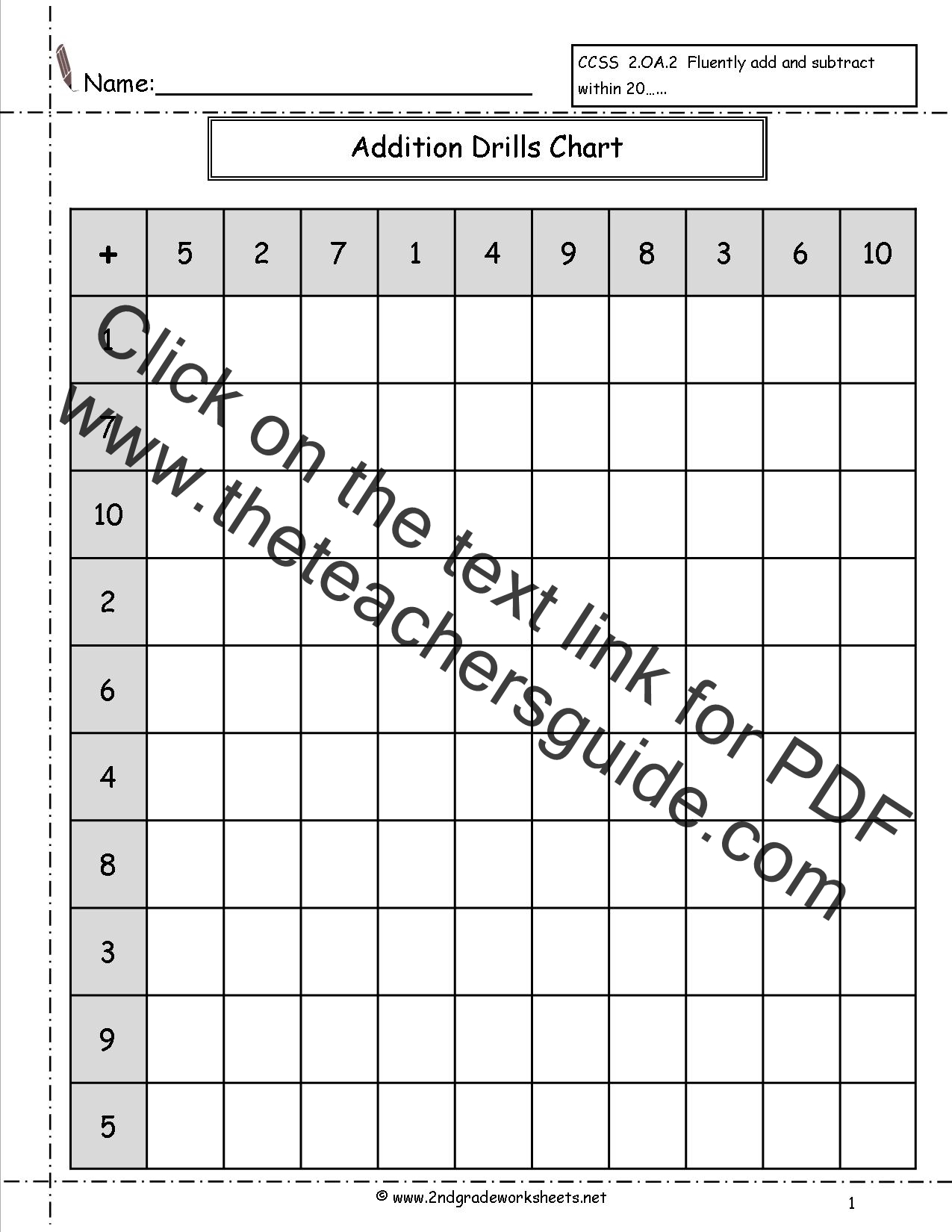 2nd Grade Math Fact Fluency Worksheets