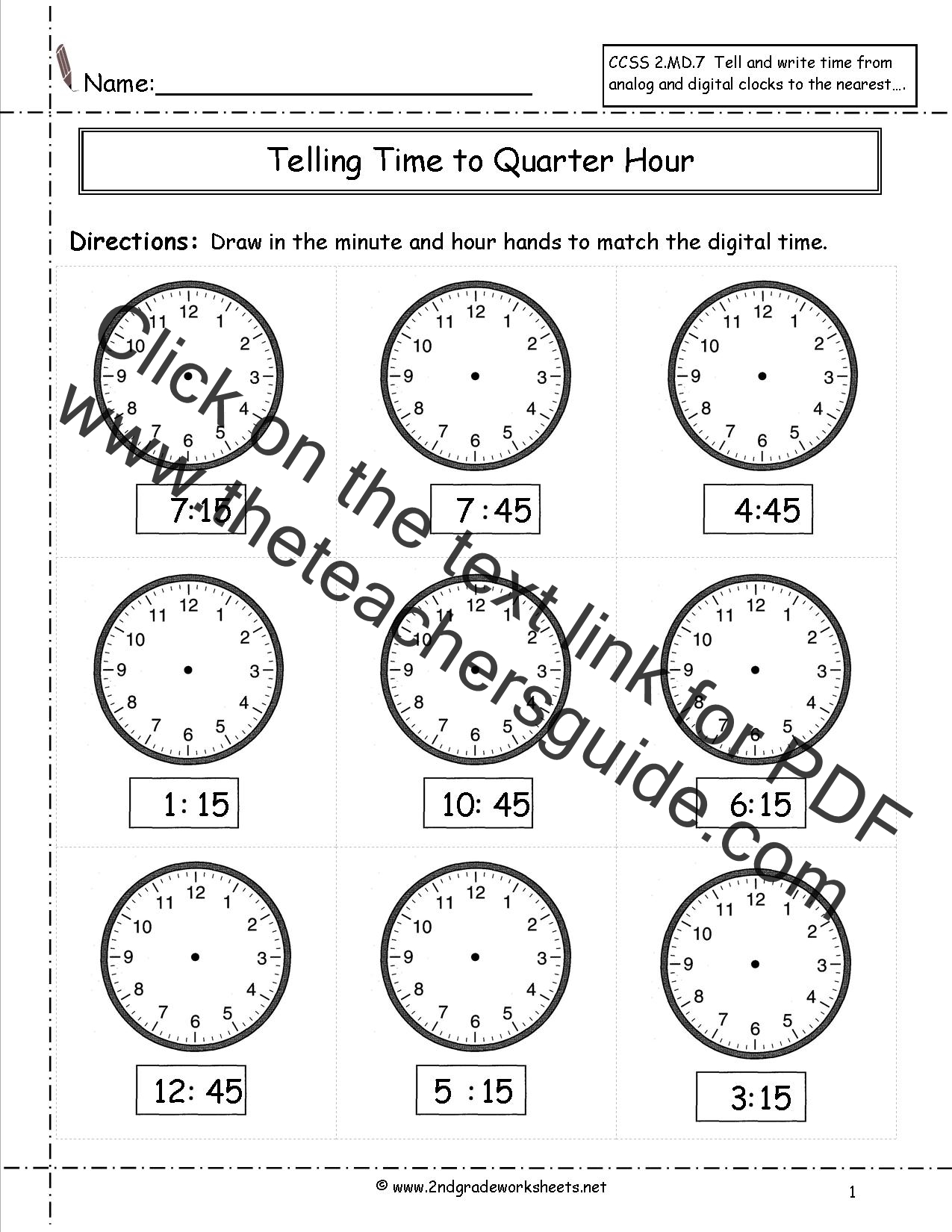 Telling Time Worksheet 45