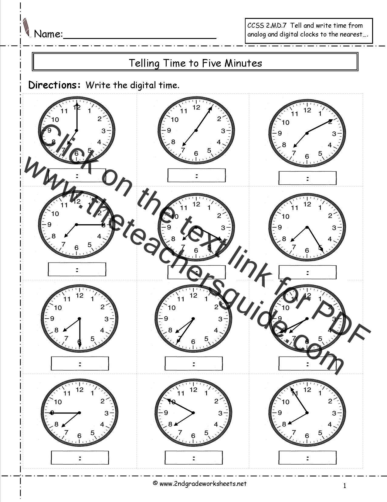 Grade 2 Telling Time Worksheet