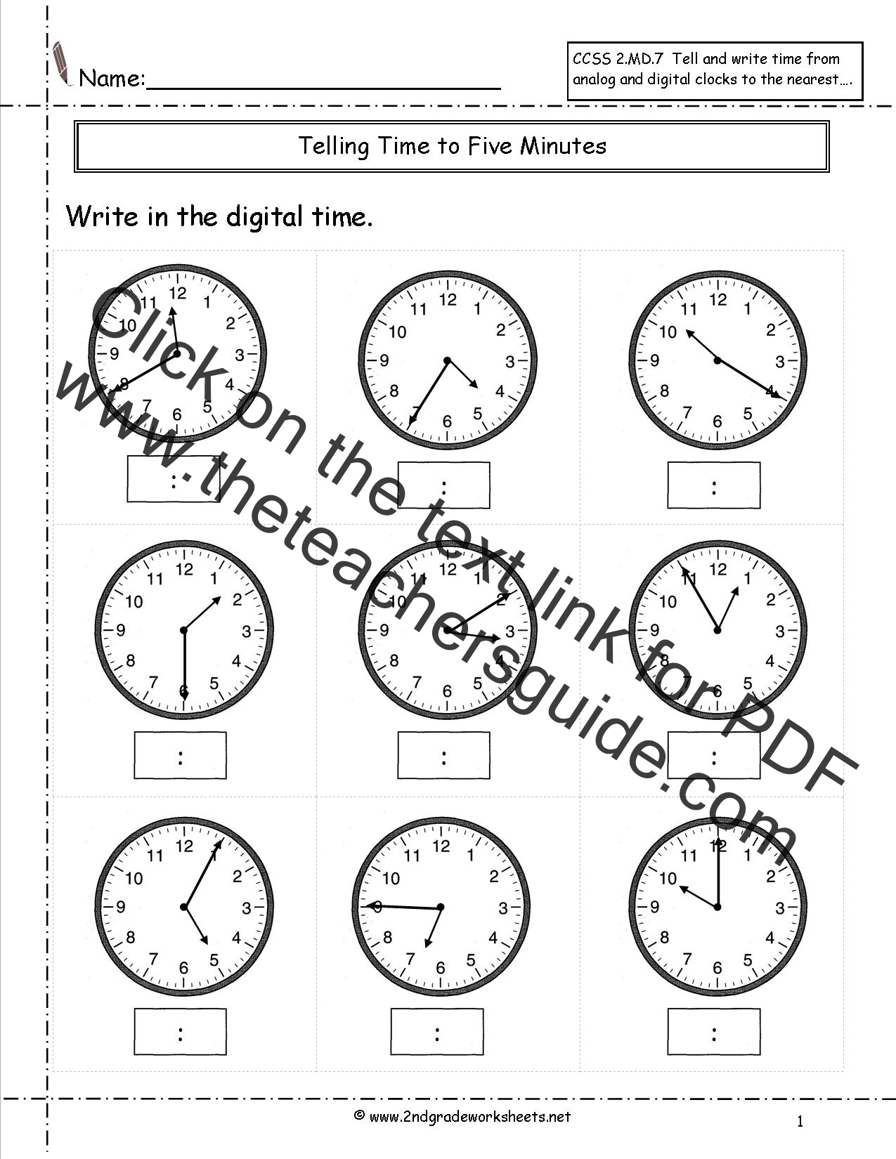Ccss 2 Md 7 Worksheets Telling Time To Five Minutes