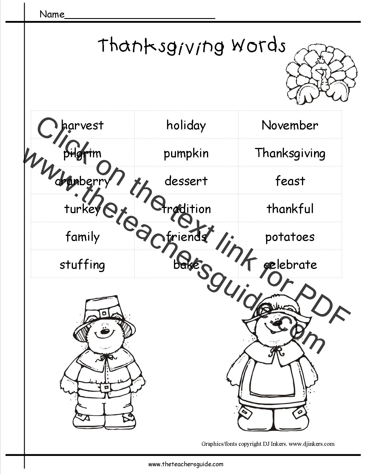 2nd Grade Writing Paper Thanksgiving