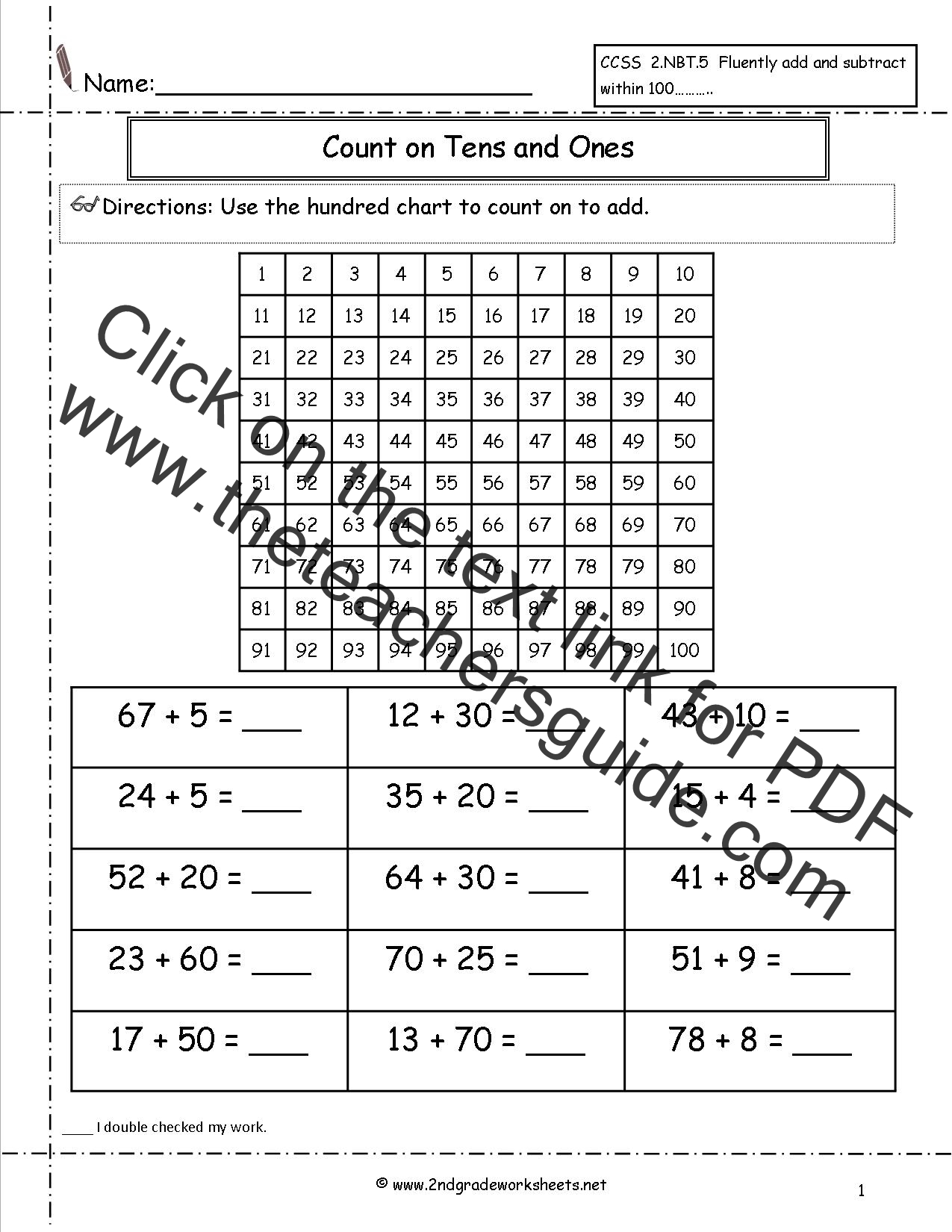 Adding Subtracting Tens Worksheet