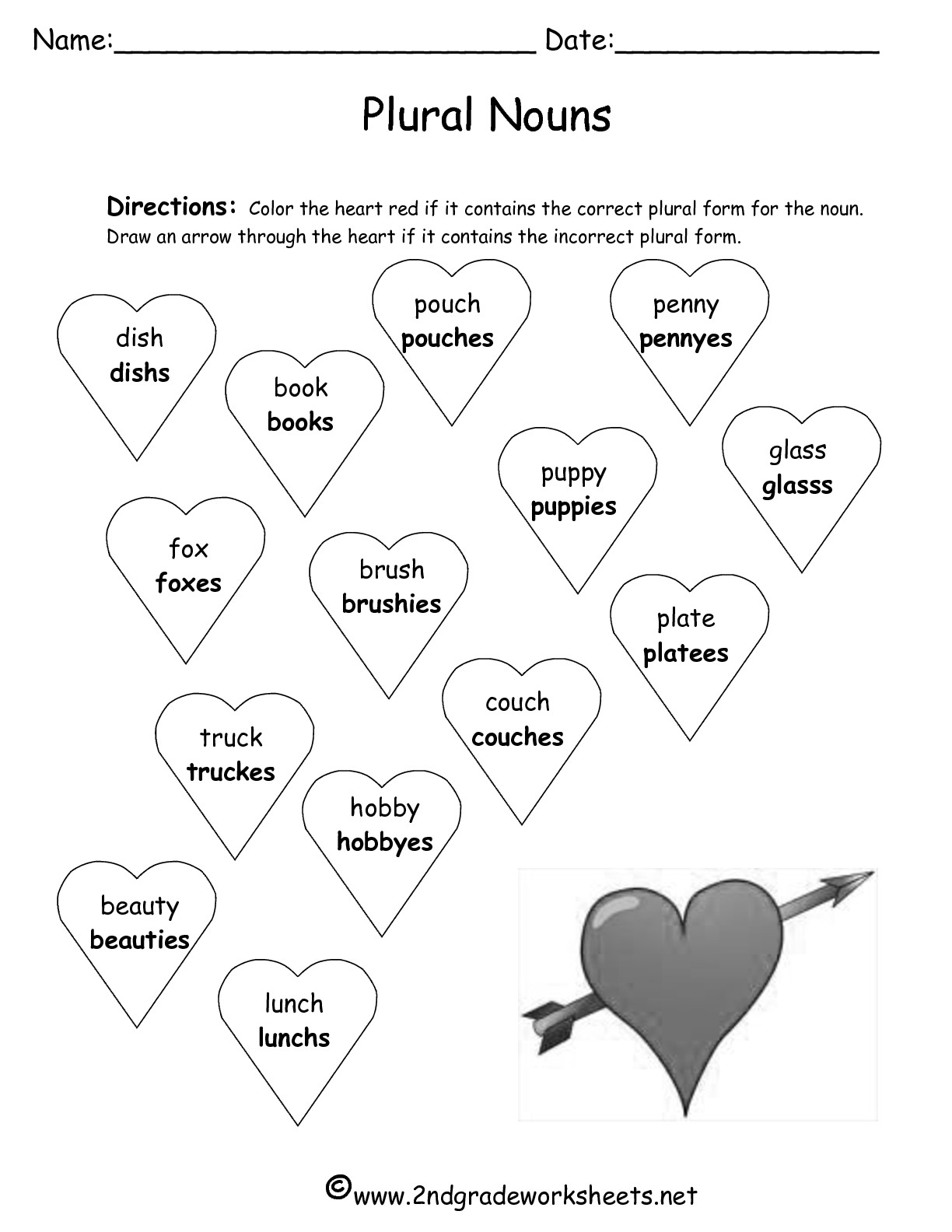 2nd Grade Subtraction Worksheet Valentine Math