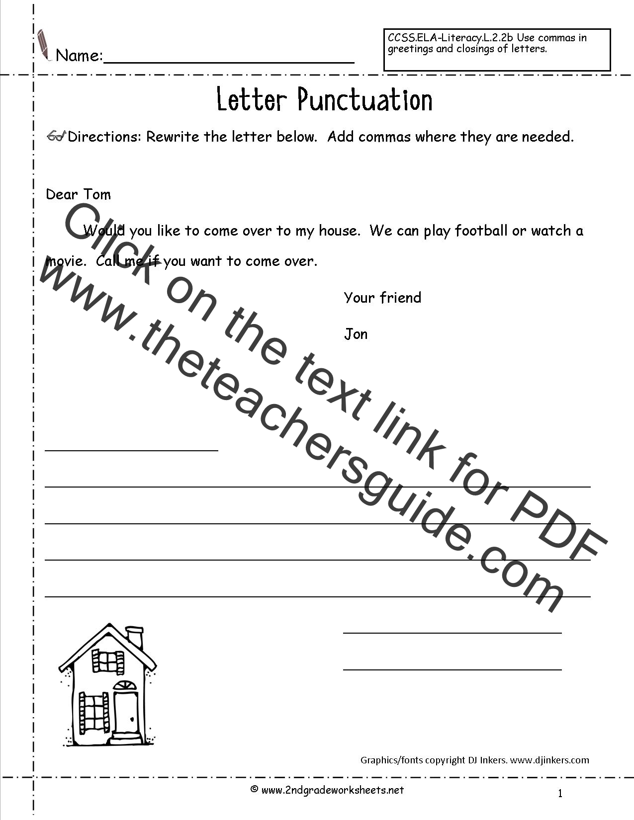 Parts Of A Friendly Letter Worksheet Printable