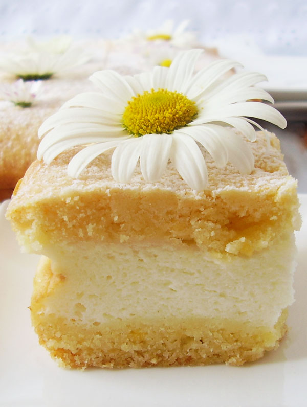 Greek Yogurt Pie Bars are light and sunny dessert welcomed by all. Daisies on the top make a refreshing bonus.