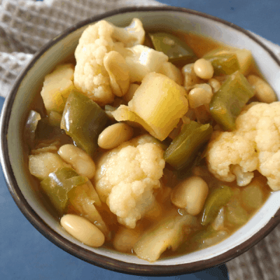 Vegan Potato Cauliflower Stew (oil free, gluten free)