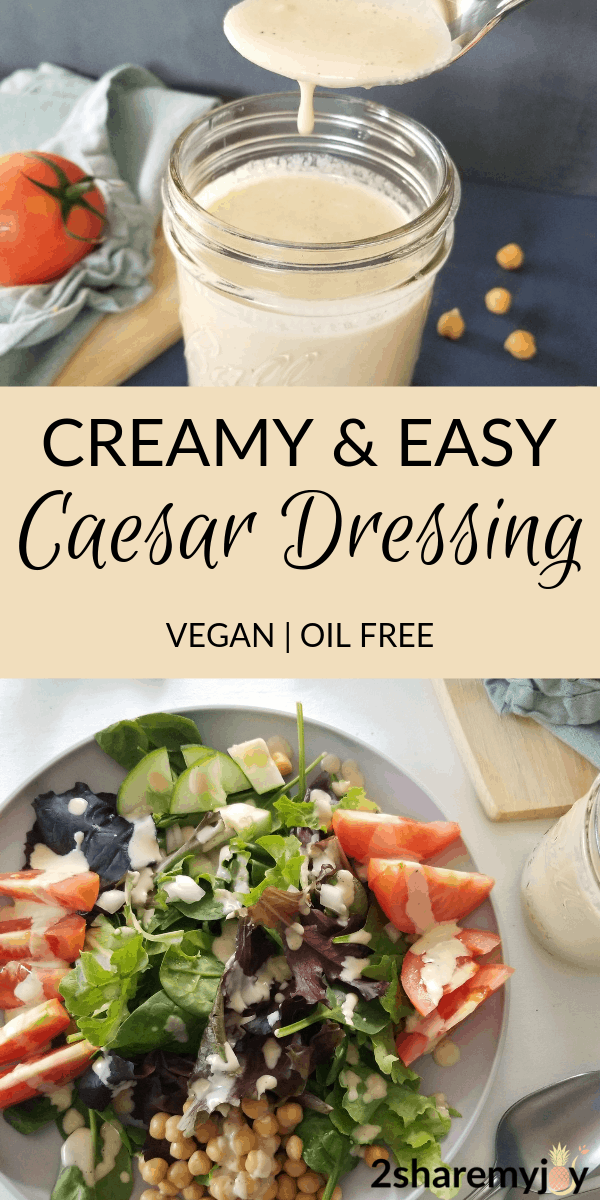 The best healthy vegan caesar dressing without oil, mayo, eggs, or hummus. This easy creamy salad dress is made with cashews.