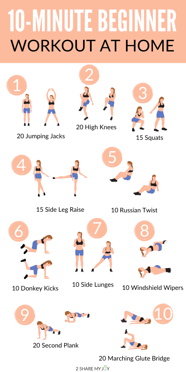 10-minute beginner workout at home, no equipment. I love to do this workout if I have no time and are too lazy for an intense workout.