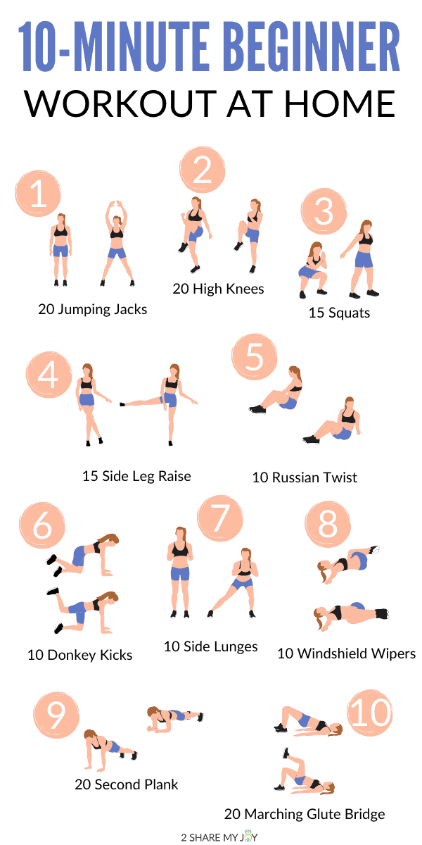 Super easy 10-minute beginner workout at home. Anyone can get started with an exercise routine using this quick living room workout.