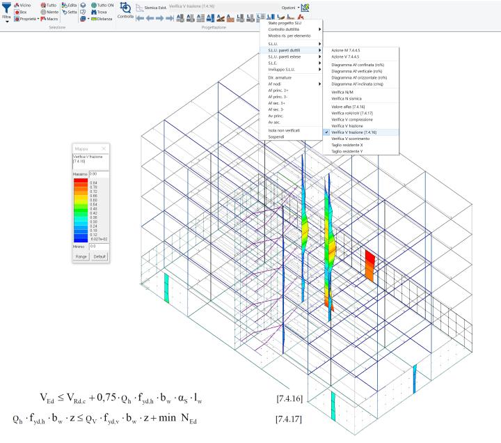 PROSAP: mappa delle verifiche a taglio lato acciaio per le pareti duttili con la formula 7.4.16
