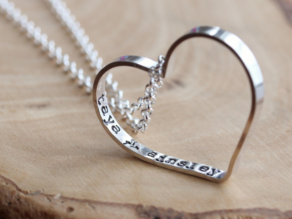 Personalized Everyday Open Heart Necklace Secret Wishes Sterling 2 Sisters Handcrafted
