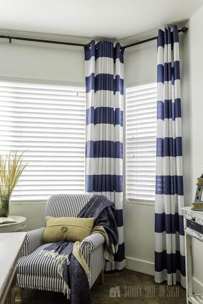diy your own bay window curtain rod