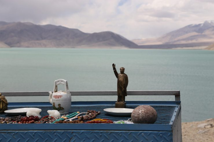 Chairman Mao souvenirs are an unexpected sight in the middle of the Karakoram Highway