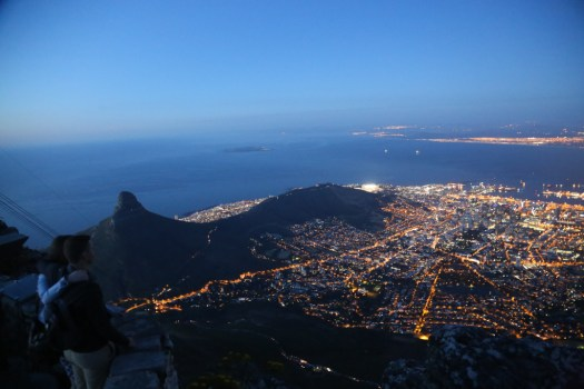 The nightscape from the top of Table Mountain