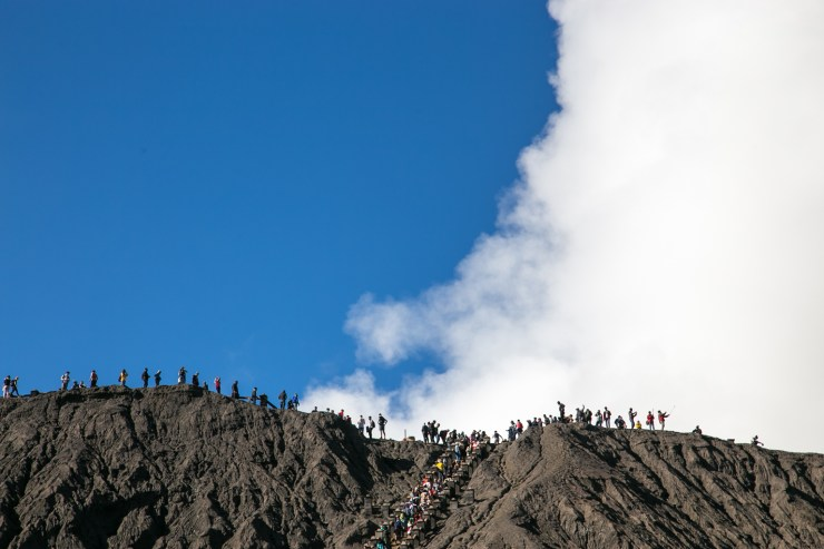 Walking along the rim of Mount Bromo