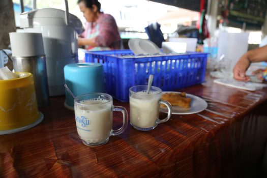 Savour a typical Chinese breakfast of soya bean milk and fried dough fritters - all for 20 Baht!