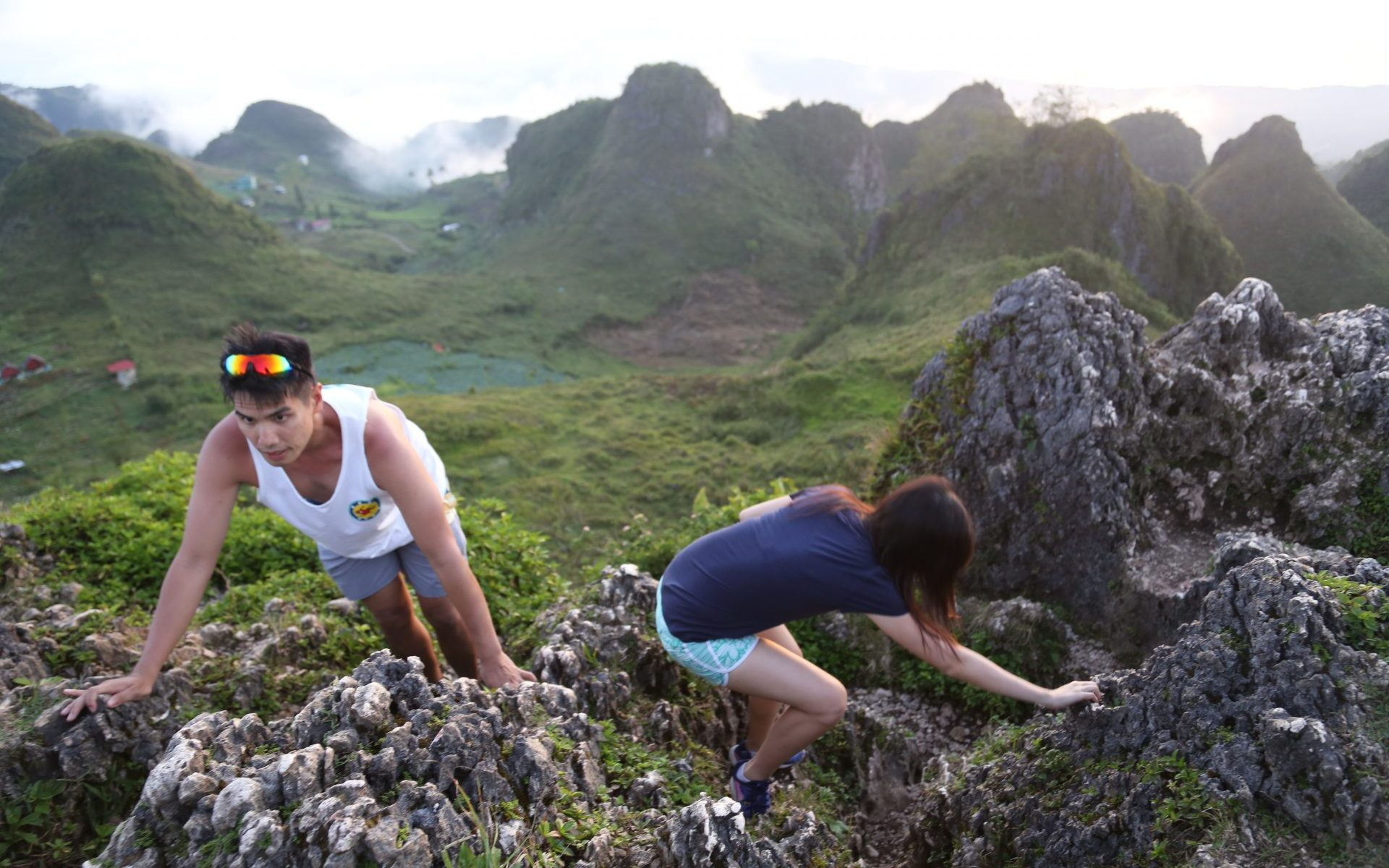 Climbing to the top of Osmena Peak