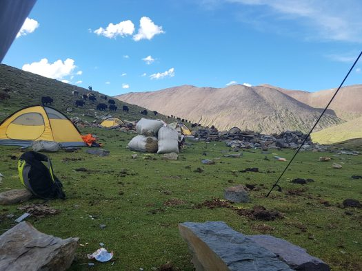 The second campsite is a welcoming sight after 10 hours of trekking.