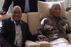 Mandela stares into the distance during ANC visit