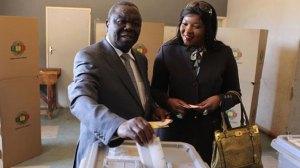 Morgan and Elizabeth Tsvangirai cast their votes