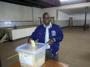 Welshman Ncube casts his vote