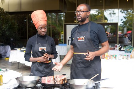 Dudu Manhenga and Carl Joshua Ncube at the Rainbow Towers Food Fest