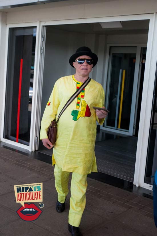 Salif Keita arriving for #HIFA2015 where he will perform with Hope Masike PIC: TNash Photography