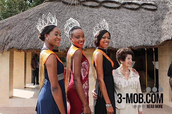 Miss World Zimbabwe Annie-Grace Mutambu, First Princess Chengetai Kanonhuwa and Second Princess Anissa Ndiriwani with Kiki Divaris PIC: 3-mob.com/Michael Shoko