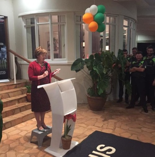 British Ambassador Catriona Laing speaking at Ireland tour of Zimbabwe reception. PIC: Cricket Ireland Twitter