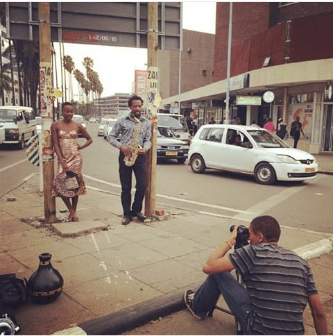 Hope Masike and Vee Mukarati in the midst of a photo shoot PIC: Hope Masike instagram