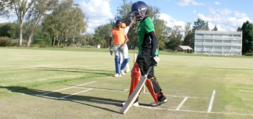 Modester Mupachikwa gets ready to open for Zimbabwe women against the national Under-16 boys in Harare on Thursday afternoon