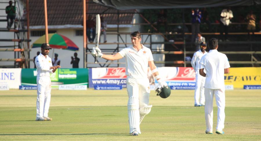 Graeme Cremer gets his maiden test century for Zimbabwe PIC: Zimbabwe Cricket