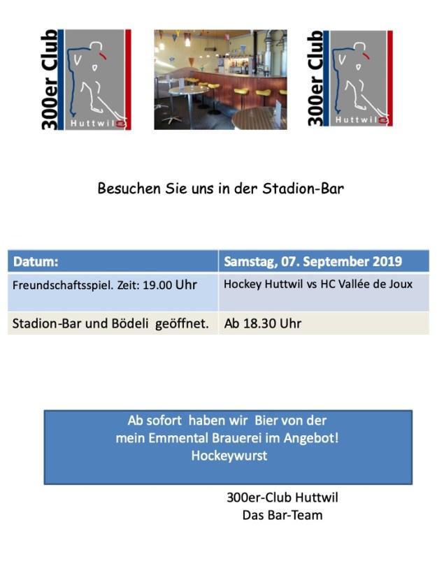 Freundschaftsspiel Hockey Huttwil vs HC Vallée de Joux