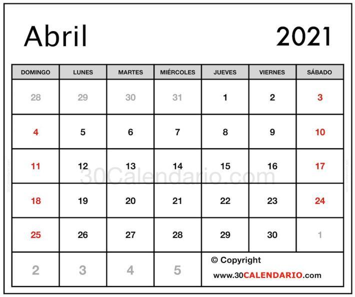 Imagen gratuita de impresión de 2021 Abril Calendario en A4