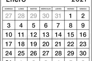Imprimir Gratis 2021 Calendario Enero Para Uso de la Oficina