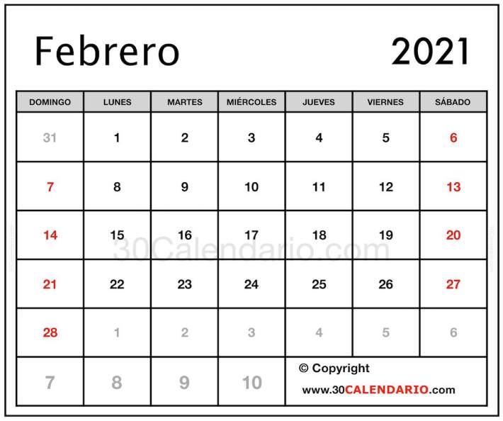 2021 Calendario Febrero Mes con fechas del festival