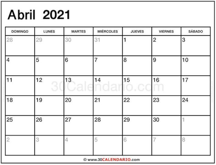 Mes de Abril 2021 Calendario Template Gratis