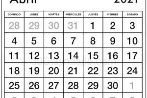 Calendario Abril 2021 con fiestas y festival