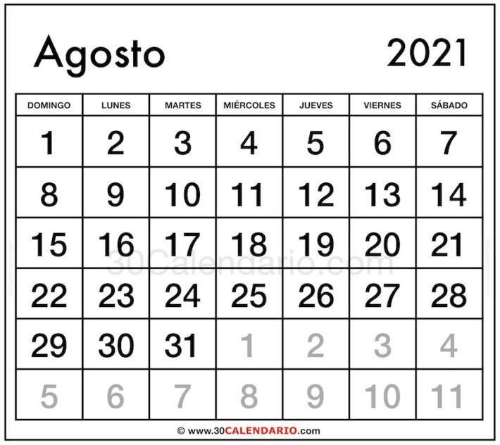 Plantilla Mensual de Calendario Agosto 2021 Gratis para Editar