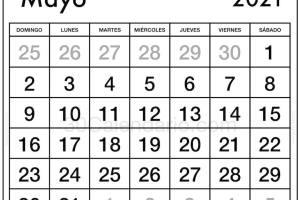 Calendario Mayo 2021 Plantilla mensual y semanal