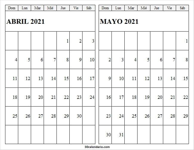 2021 Calendario Abril Mayo