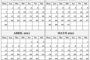 2021 Febrero a Mayo Calendario En Blanco