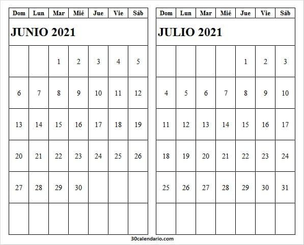2021 Junio Julio Calendario Imprimir