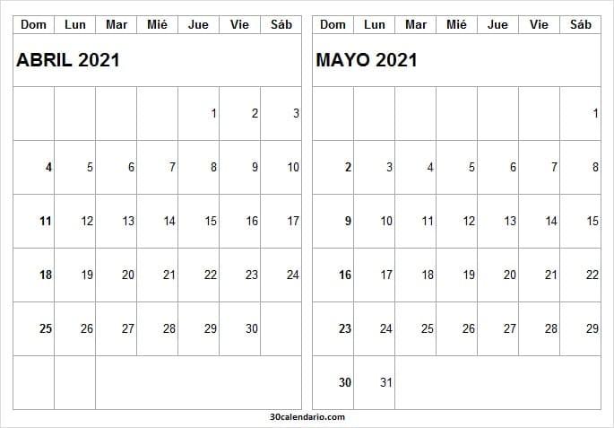 Abril Mayo 2021 Calendario Escolar
