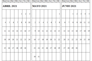 Abril a Junio 2021 Calendario Escolar