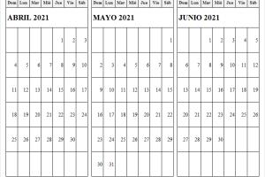 Abril a Junio 2021 Calendario Escolar