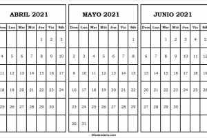 Abril a Junio Calendario 2021