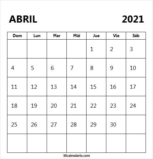 Calendario Abril 2021 Blanco