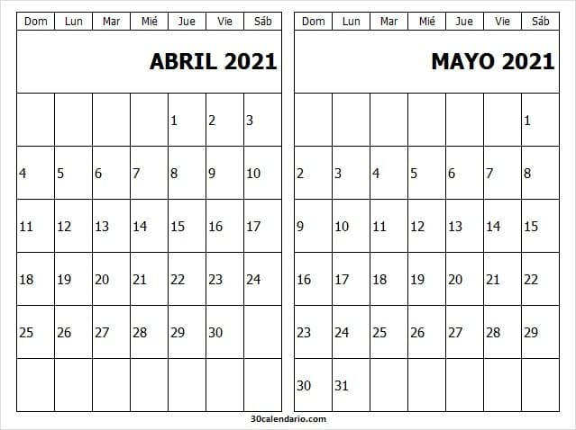 Calendario Abril Mayo 2021 Adviento