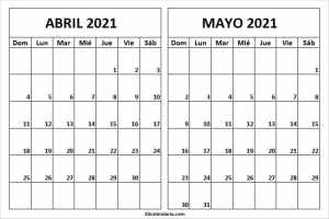 Calendario Abril Mayo 2021 Blanco
